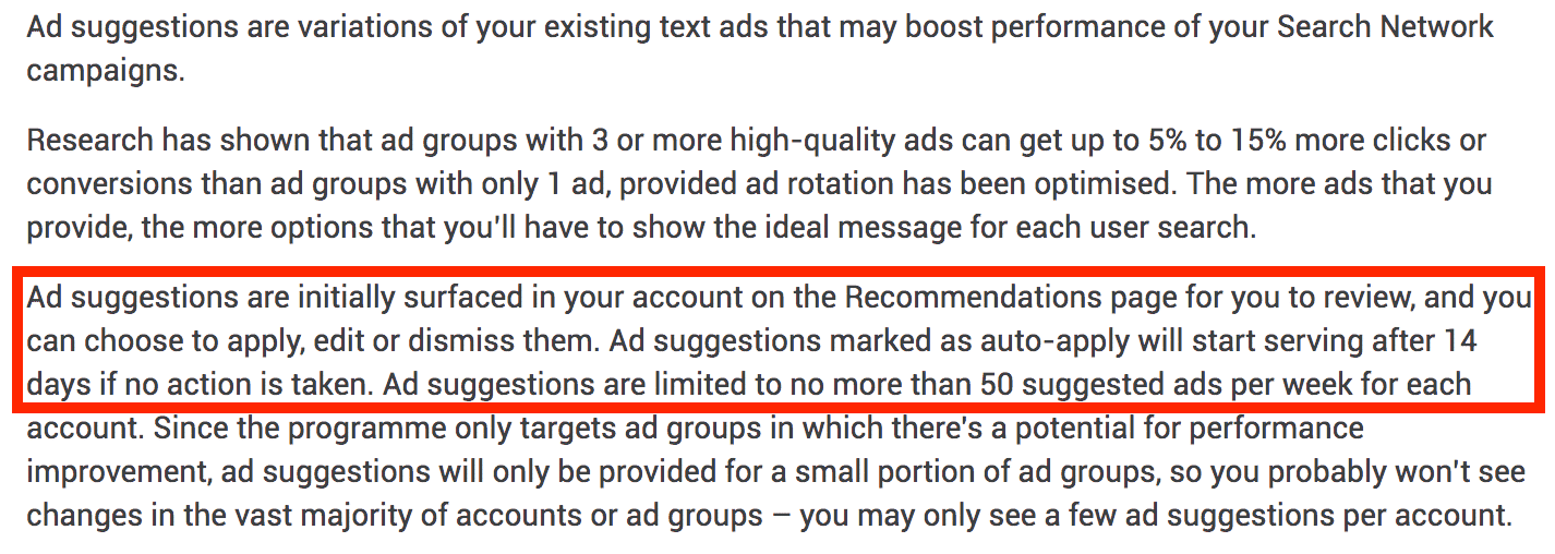 Auto Applied Ad Suggestions Screenshot